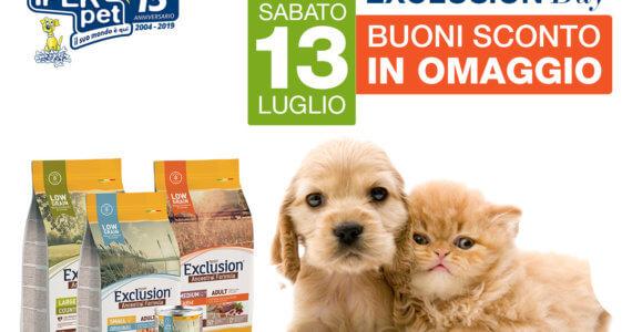 Sabato 13 Luglio Giornata Promozionale Exclusion da Iper Pet Negozio per animali Reggio Calabria
