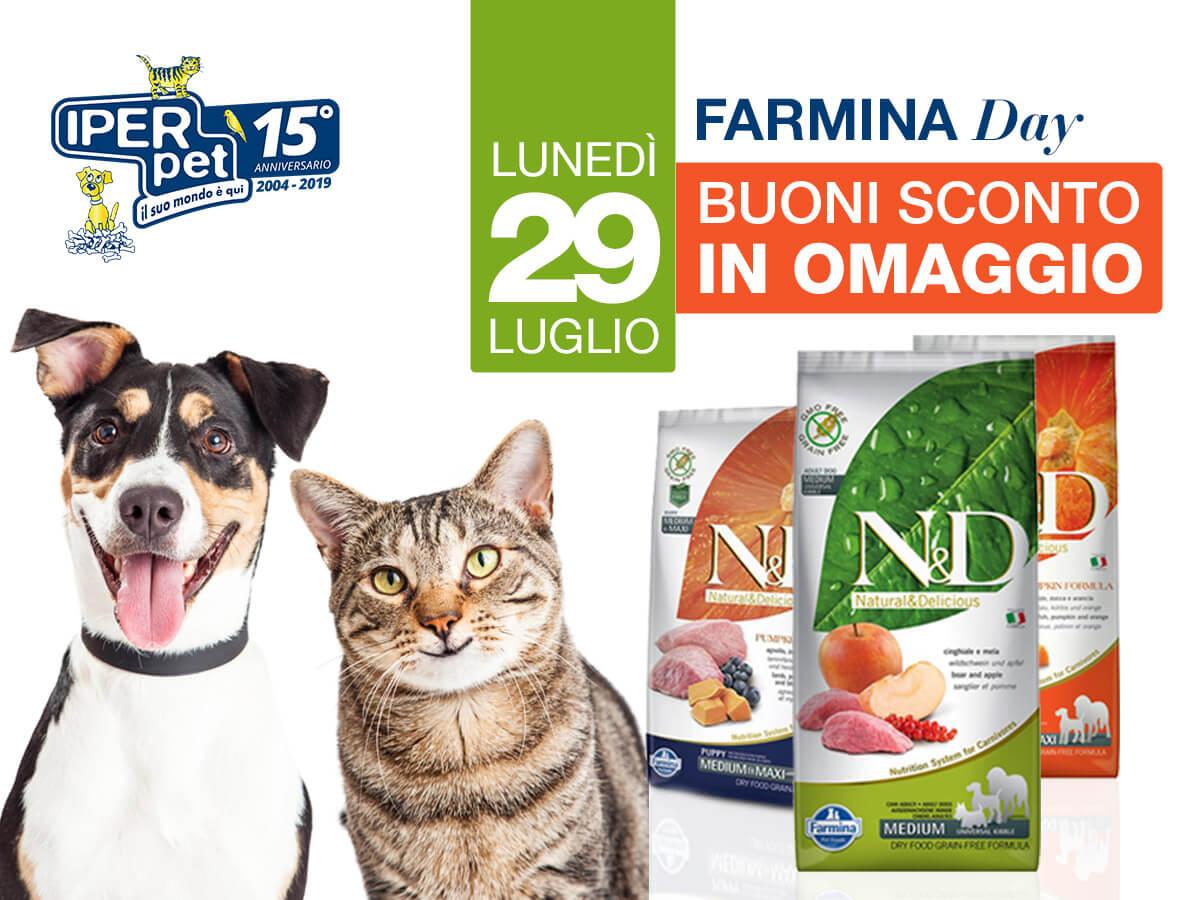 Lunedì 29 luglio giornata promozionale Farmina presso Iper Pet negozio per animali reggio calabria