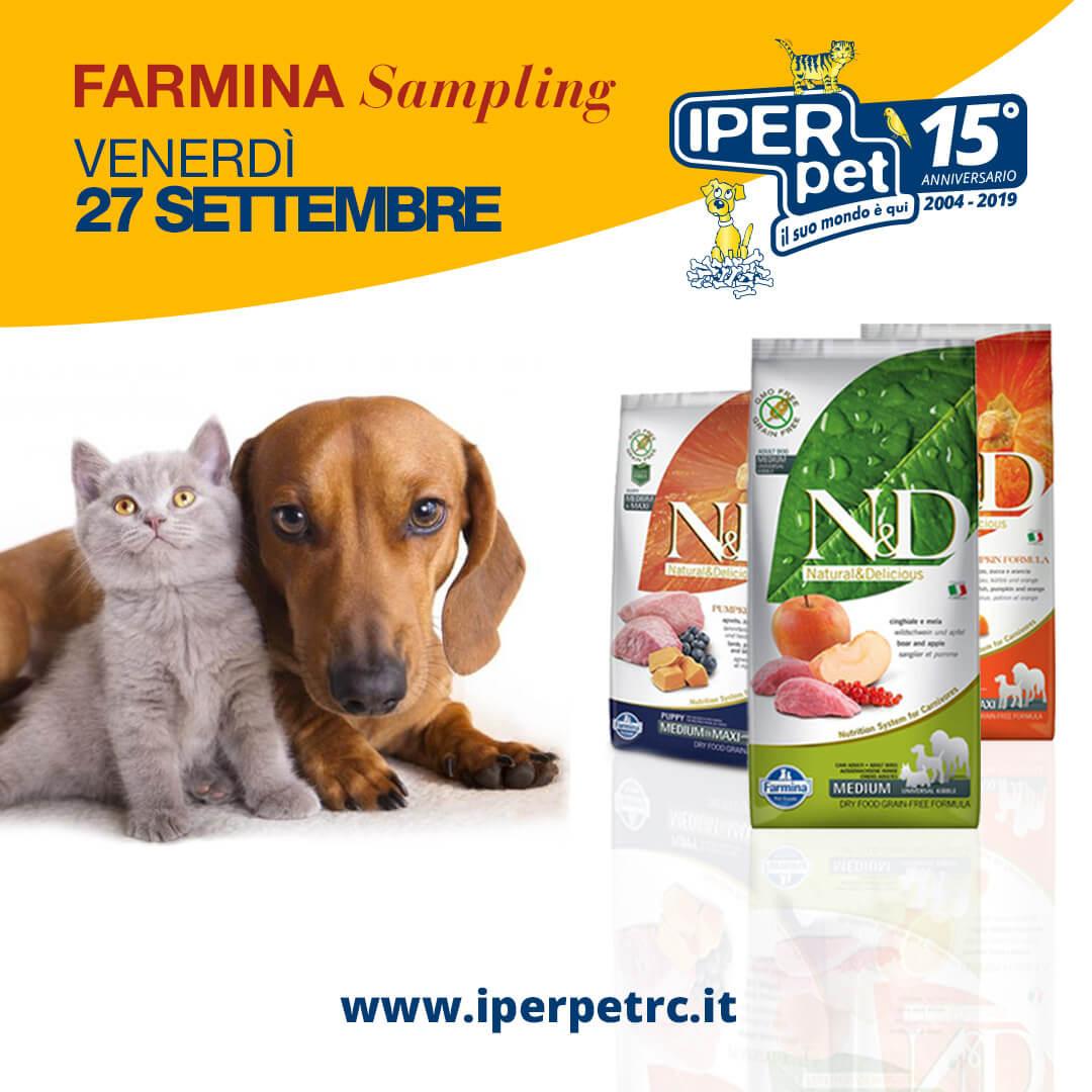 Venerdì 27 Settembre Farmina Sampling da Iper Pet negozio per animali a Reggio Calabria