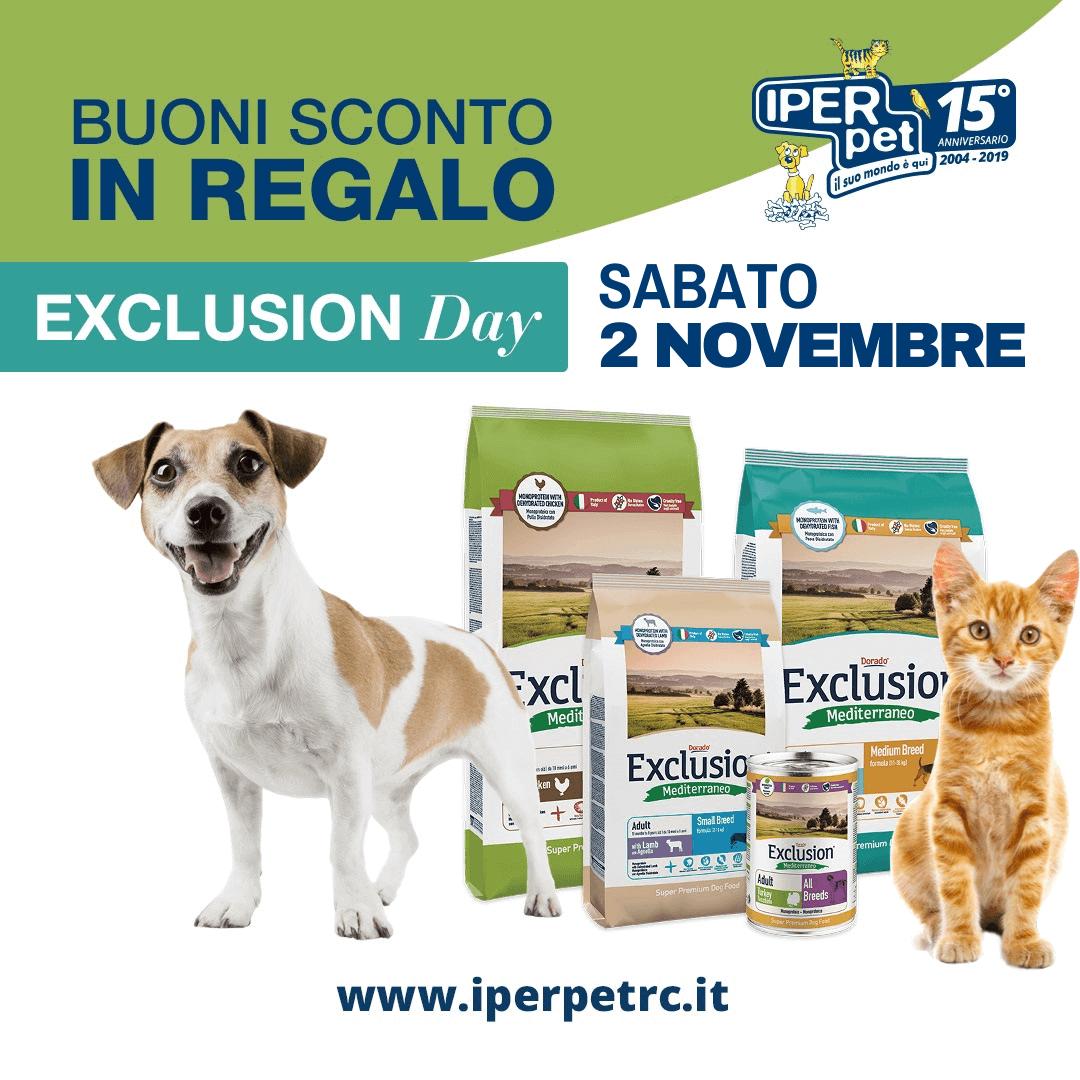 Sabato 2 Novembre Exclusion Day da Iper Pet negozio per animali Reggio Calabria