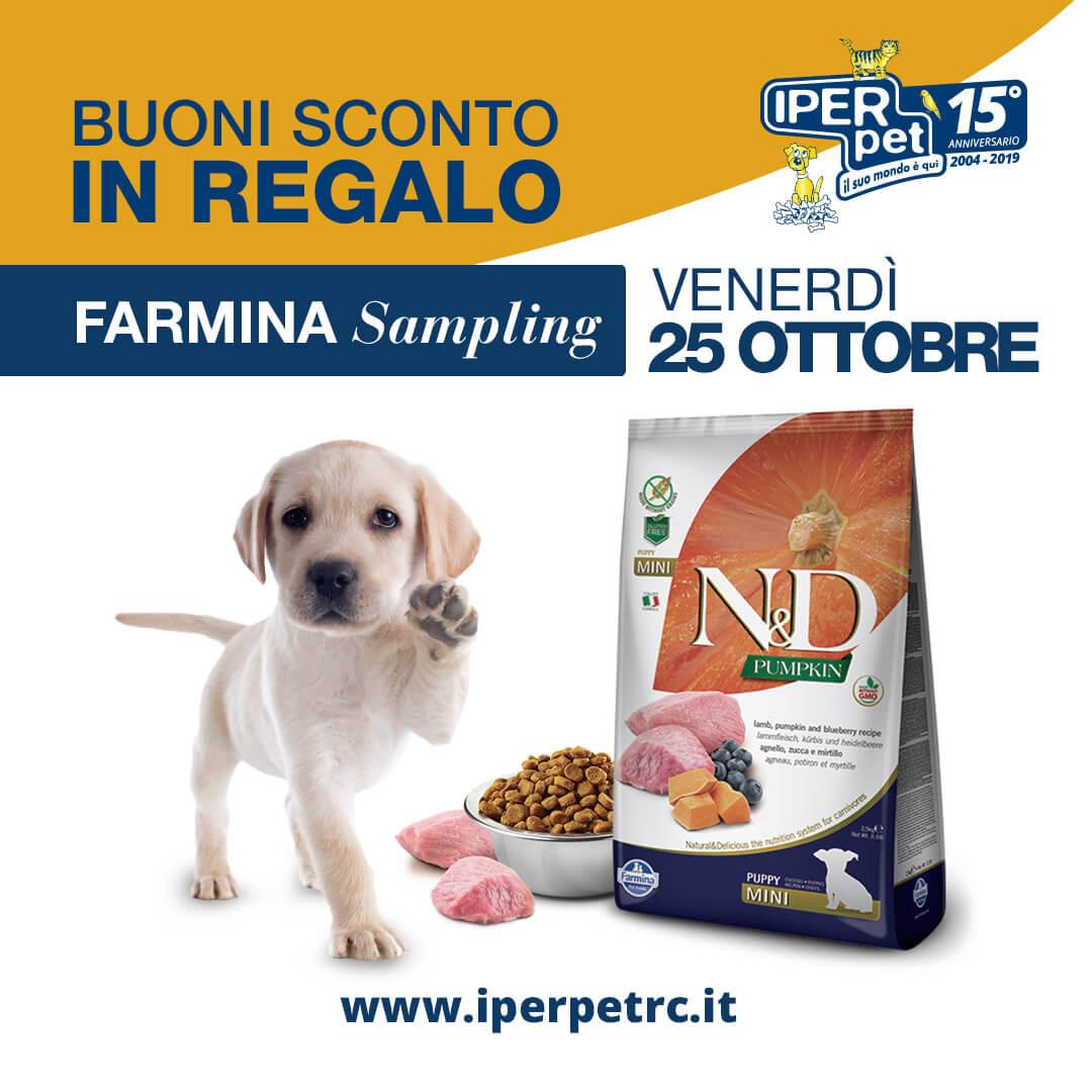 Venerdì 25 Ottobre Farmina Sampling presso Iper Pet negozio per animali Reggio Calabria