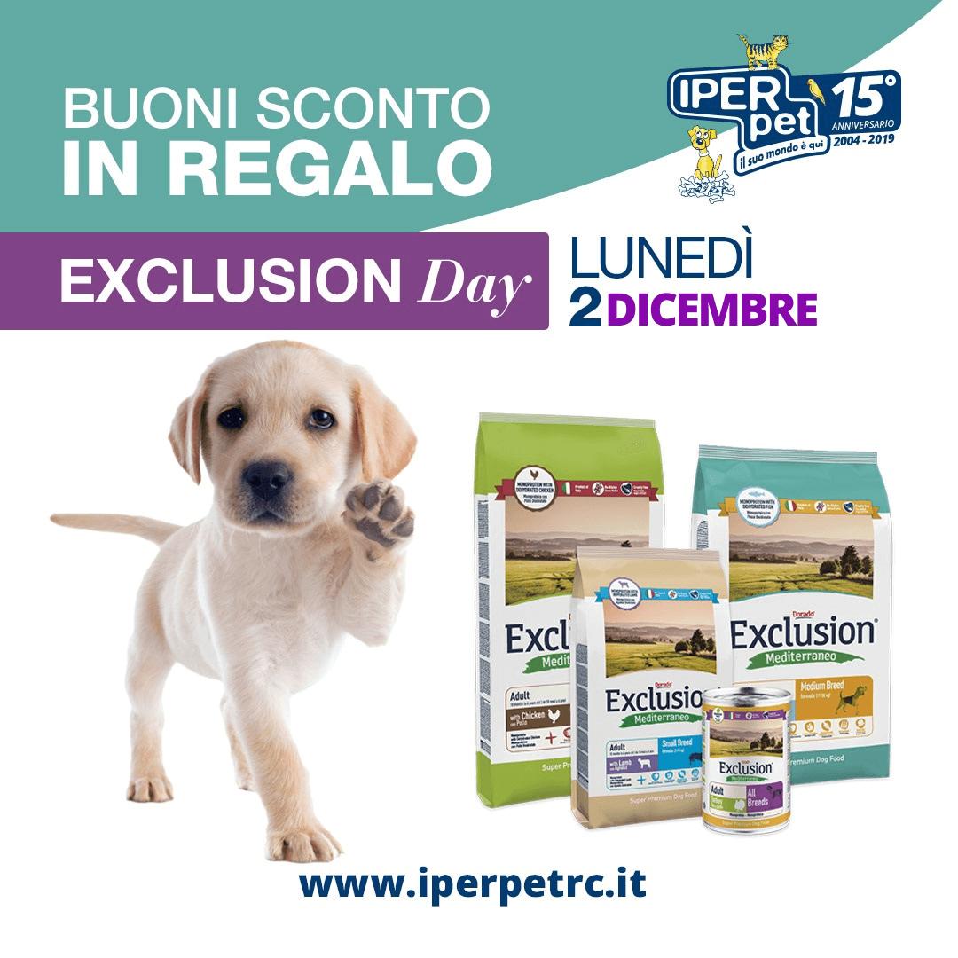 Lunedì 2 dicembre giornata promozionale exclusion presso il negozio per animali Iper Pet di Reggio Calabria