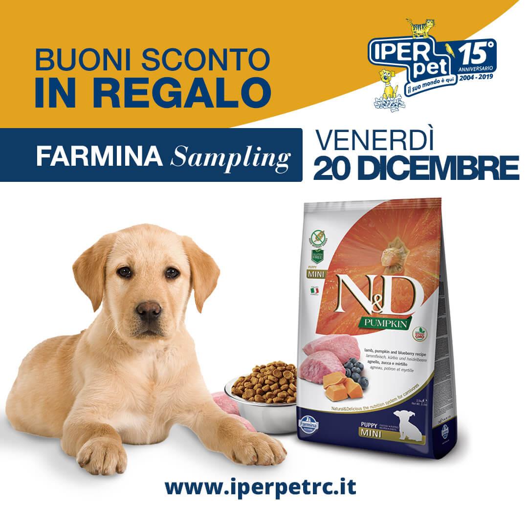 Venerdì 20 Dicembre vi aspettiamo al Farmina Sampling presso Iper Pet negozio per animali Reggio Calabria