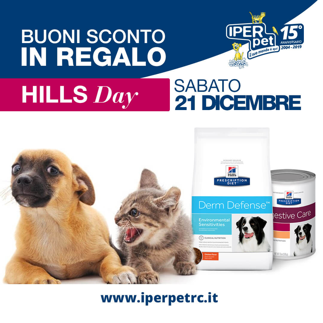 Sabato 21 Dicembre Hill's Day presso Iper Pet negozio per animali Reggio Calabria