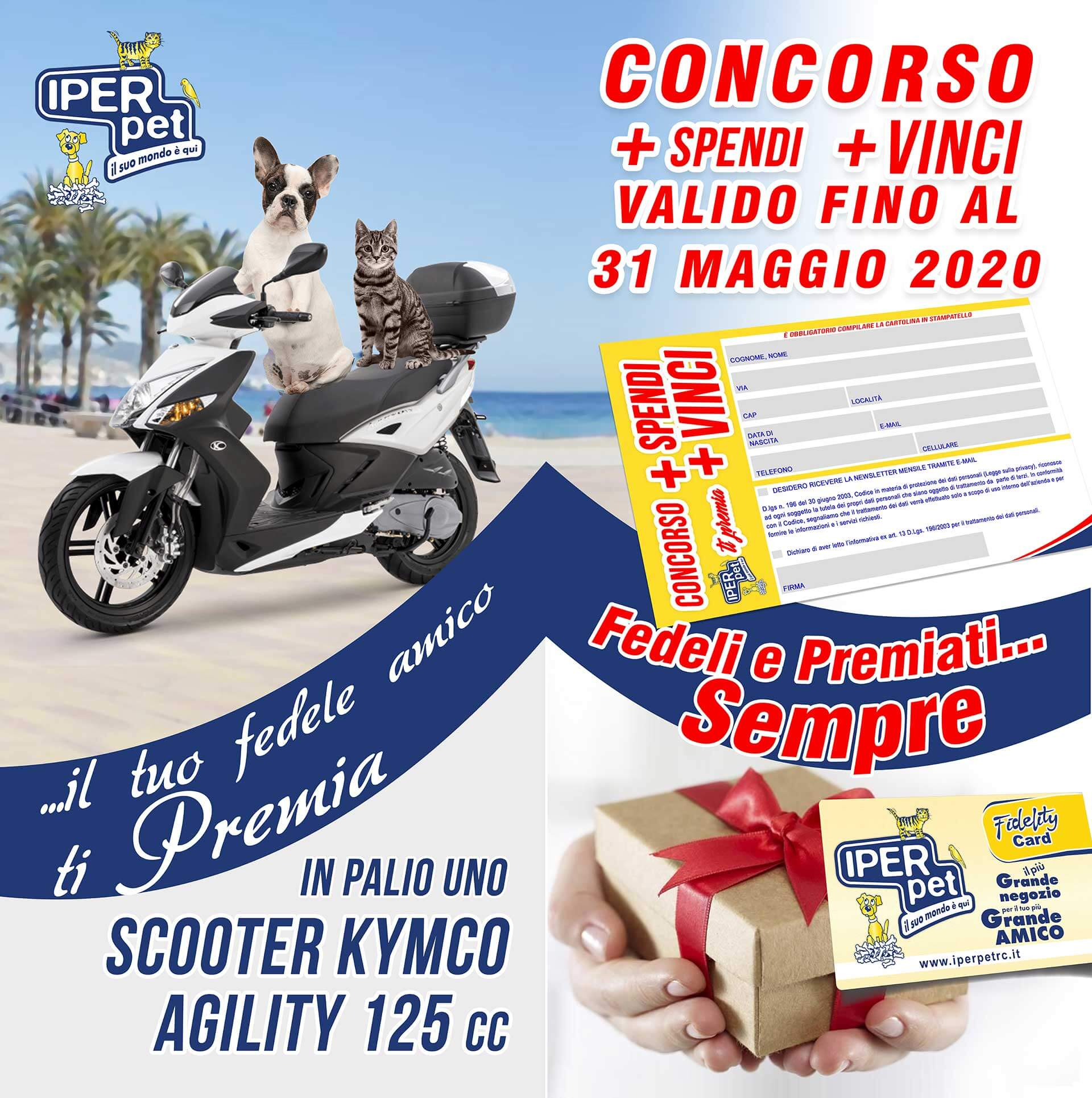 Parte il concorso +spendi +vinci di Iper Pet con cui potrai vincere un fantastico scooter Kymco 125cc