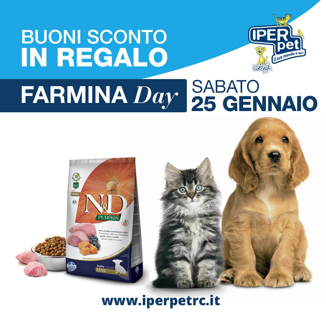 sabato 25 gennaio farmina day da Iper Pet negozio per animali reggio calabria